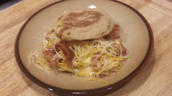 Eddie Stephens' special, fresh fried egg, ham, cheese on a toasted English muffin.