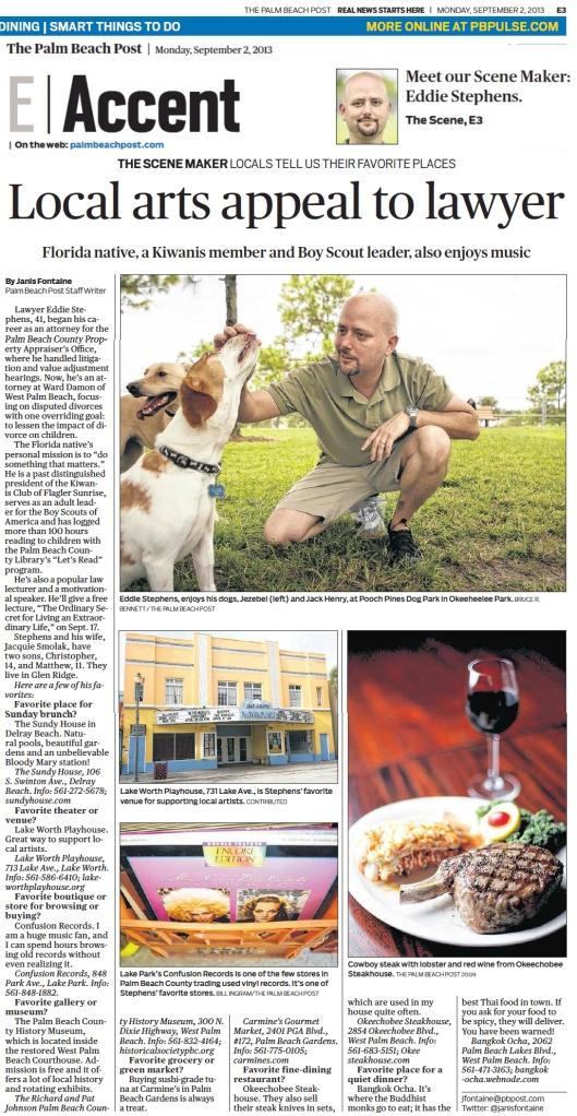 Eddie Stephens' Palm Beach Post Scene Maker article.