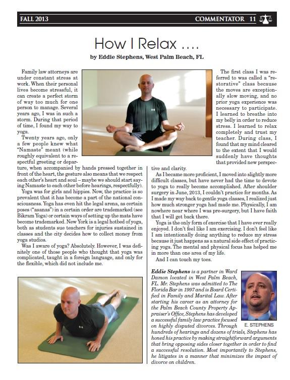 Eddie Stephens, attorney and yogi