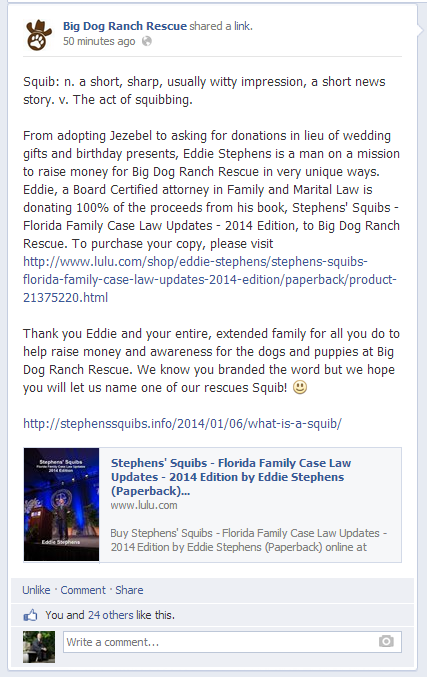 Bid Dog Ranch Rescue Facebook Announcement re: Eddie Stephens - Stephens' Squibs