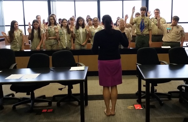Judge Sasser swears in the Scouts to begin Scout Law Day
