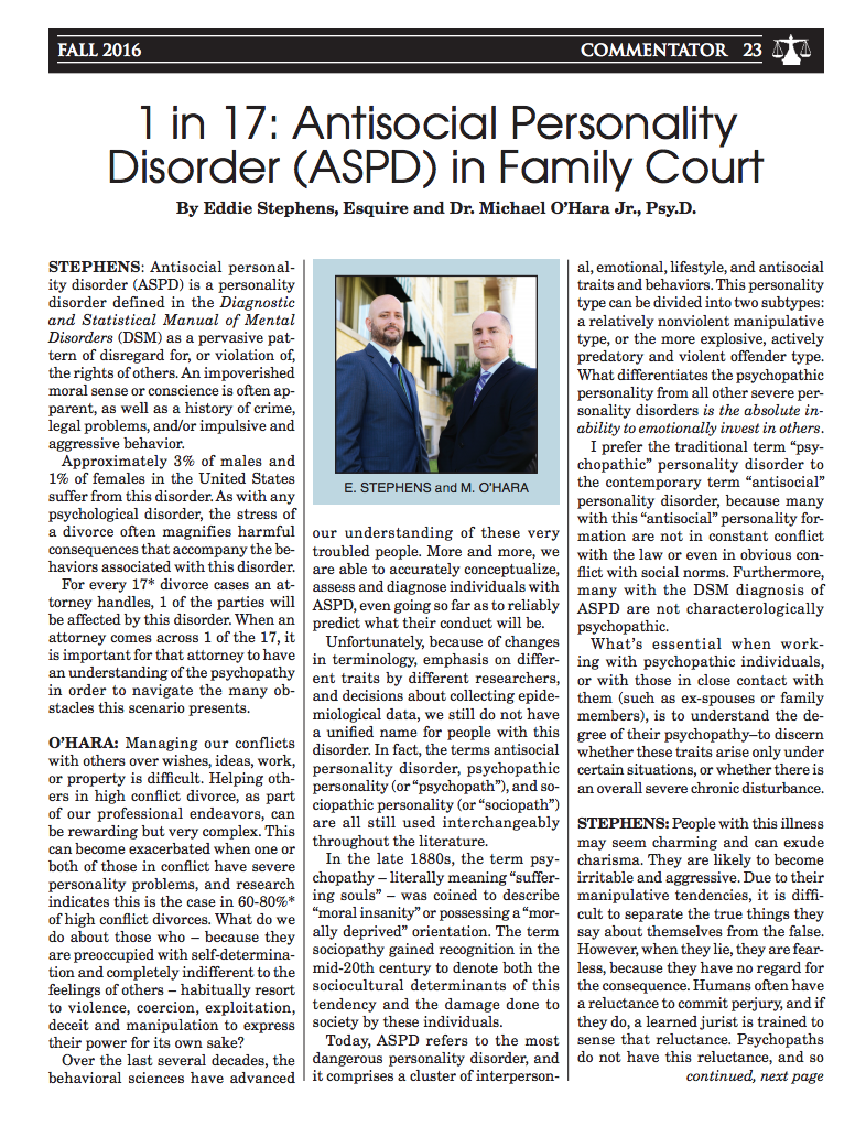 1 in 17: Antisocial Personality Disorder in Family Court